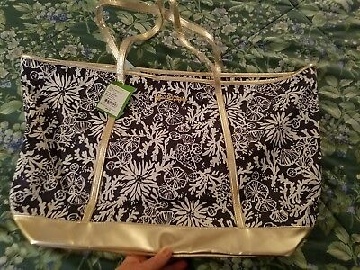 New NWT Lilly Pulitzer In the Groove Blue Sea Shells Ocean Reef Coastal Tote Bag