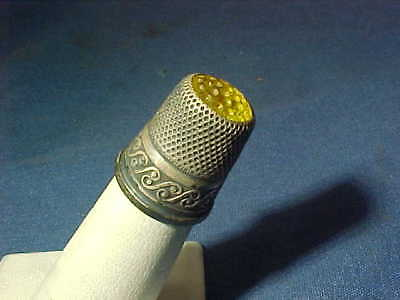 19thc VICTORIAN Era STERLING Silver SEWING THIMBLE w YELLOW GLASS TOP