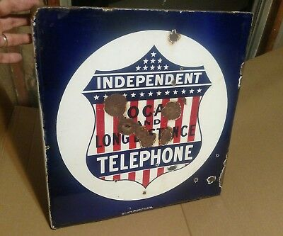 Early 1900s Original Independent Telephone Porcelain Flange Sign Made In USA