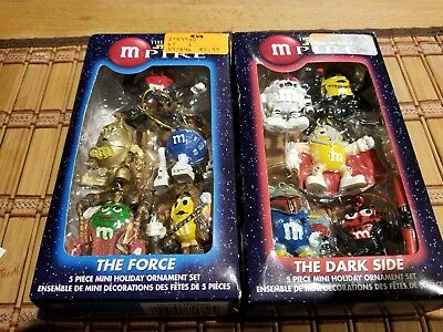 M&M Collectible 2 Sets of Star Wars Empire Holiday Ornaments 10 Total RARE m&m's