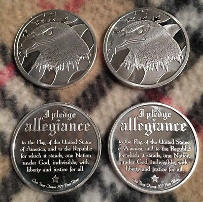 Lot of (4) .999 Fine-Silver Eagle/Pledge of Allegiance Rounds- (1) Troy Ounce Ea