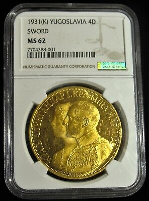 Yugoslavia: Alexander I gold 4 Dukata 1931-(K) MS62 NGC. With sword countermark.