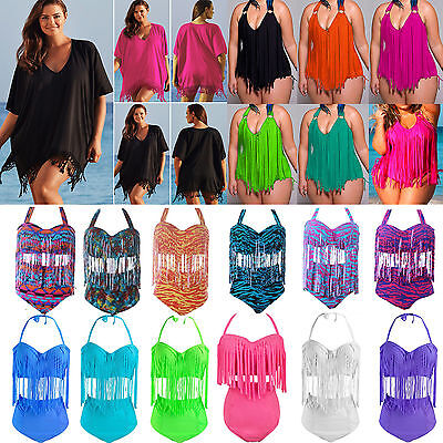 Plus Size Women's Push Up Padded Monokini Tassel Bikini Swimwear Cover Up Dress