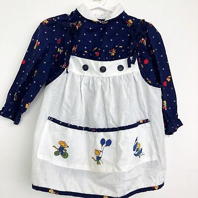 Vintage Girls Dress 3T Pinafore Apron 2 Pc Mouse Blue White Tricycle Car Balloon