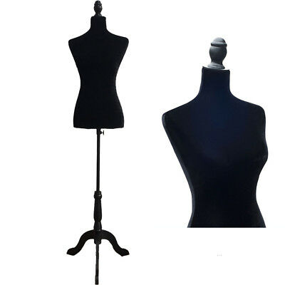 Female Mannequin Torso Clothing Display W/ Black Tripod Stand New