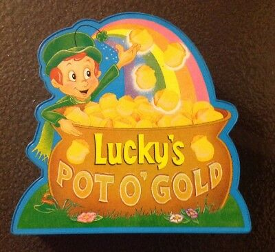 Vintage Lucky's Pot O' Gold LUCKY CHARMS Muscial Bank MAIL AWAY PROMO