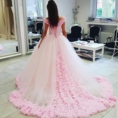 Off-Shoulder Pink Flowers Ball Gown Wedding Dresses Bridal Gowns Custom all Size