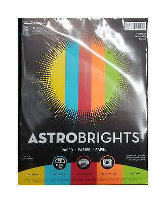 """500 Sheets   Astrobrights Color Paper   24 lb   8.5"""" x 11""""   """"Everyday"""" 5-Colors"""
