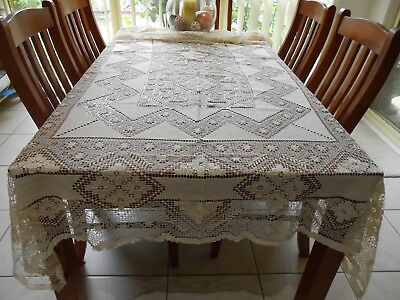 Large Tuscan Allover Lace Tablecloth Rectangular 250cm x 165cm Ecru 100% Cotton