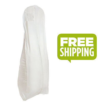 "Wedding Dress Garment Bag Gown Cover Bridal 72"" Long XL Breathable Zipper White"