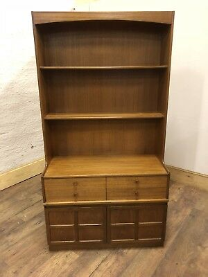 Mid Century Nathan Tall Bookcase / Display Unit With 4 Drawers  +Cupboard Below