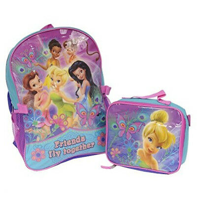 New Disney Fairies Backpack with Lunch Box 16 Inch