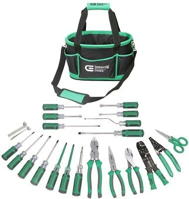 Electricians Tool Set 22 Piece Bag Kit Pliers Screwdriver Electric Commercial
