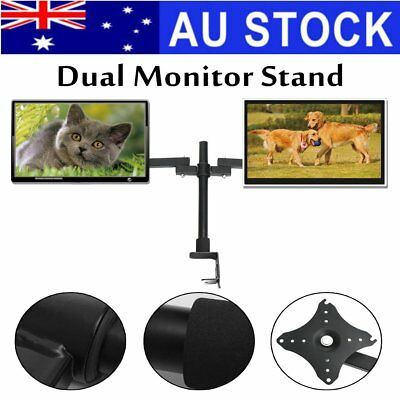 Dual HD LED Desk Mount Monitor Stand Bracket 2 Arm Holder Two LCD Screen TV