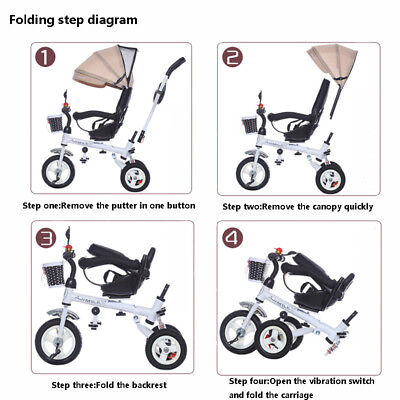 4 in1 Baby Toddler Pram Tricycle Kid's Ride-On Toy Reverse Rotating Trolley+Tent