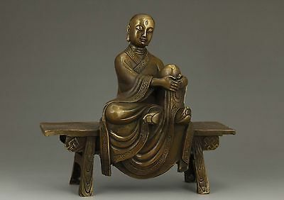 China Old Brass Handwork Carving Buddha Eminent Monk Collectable Ornament Statue