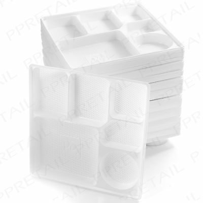 100 X WHITE PLASTIC SERVING TRAY 6 Section Compartments Disposable ...