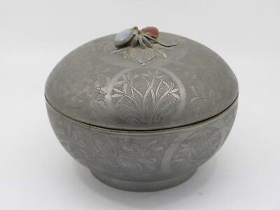 Chinese Pewter Etched Tea Caddy With Gemstones