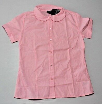 French Toast Girls Blouse Peter Pan Collar Short Sleeve pink size XL 18 New