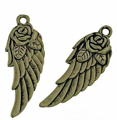 20 Angel Wings Charms Vintage Antique Bronze Roses Bird - BEAUTIFUL 32mm