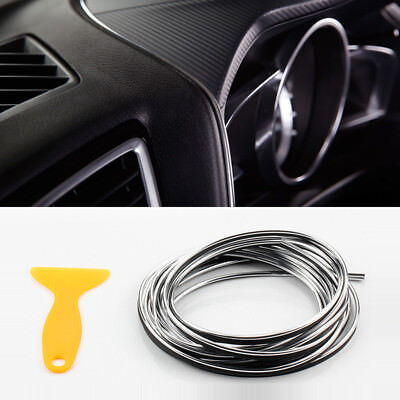 5M Car Chrome Silver Edge Accessory Panel Gap Interior Molding Trim Strip Line