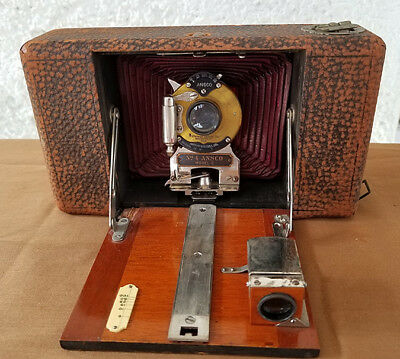 Vintage Ansco Number 4 Model C Camera w/ Maroon Bellows