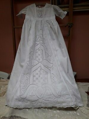 Antique Christening Gown Chikan Hand Embroidery White Cotton Vintage Original