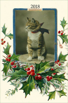 Cute Kitten Cat Antique LARGE New Blank CHRISTMAS Note Cards