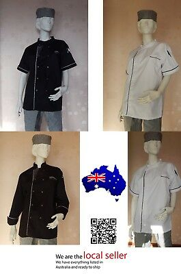 Quality Modern Lightweight Chef Jacket, Black/White, Long/Short Sleeve, S/M/L/XL