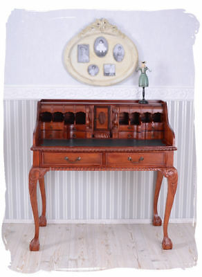 Vintage desk colonial style secretary mahogany wood carvings rolling desk new