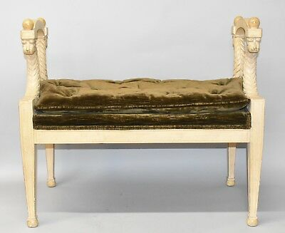Baker Furniture Louis XVI Style Upholstered Carved Wood Bench