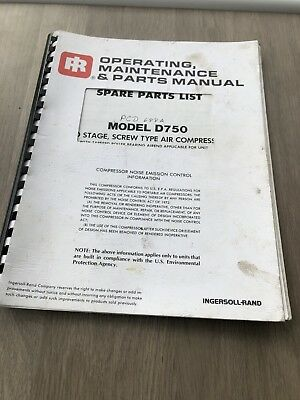 Ingersoll Rand D750  Portable Air Compressor Operating Maintenance Parts Manual