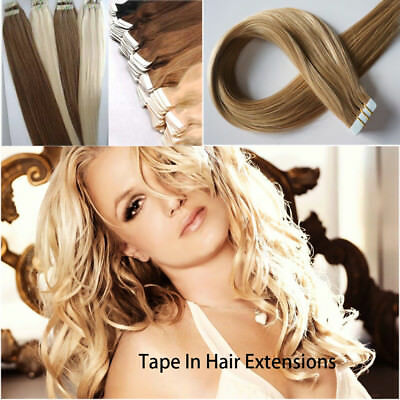 BEST Brazilian 7A 20/40PCS Skin Glue Tape in Remy Human Hair Extensions UK
