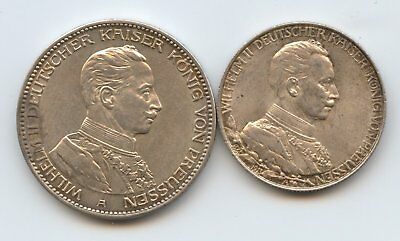 Germany Prussia 1913A 2 Mark 1914 3 Mark Silver Coins Kaiser Wilhelm Ii