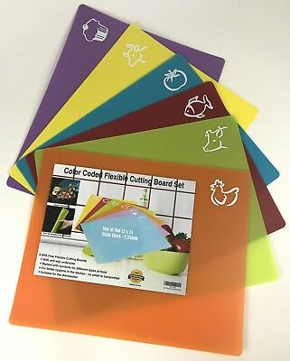"NEW Set of 6 Color Coded Flexible Cutting Boards BPA Free Anti-Slip 12"" x 15"""
