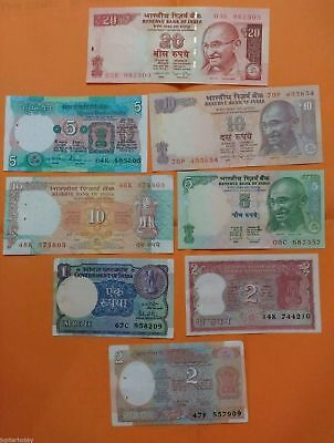 8 DIFFERENT Notes - India Bank Notes - X/F - #- FREE SHIPPING