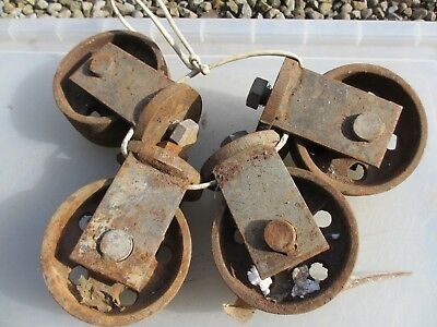 Large Vintage Cast Iron Castors Wheels Industrial Factory x4 Old French  14kg