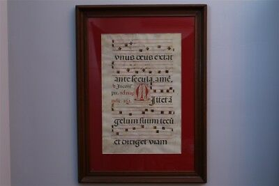 Early Illuminated Manuscript Leaf Musical Note Page