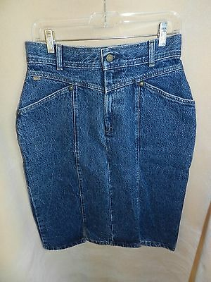 Vintage Levi's Denim Pencil Skirt 1980's Retro Boho Sz 14 Hipster STONEWASHED