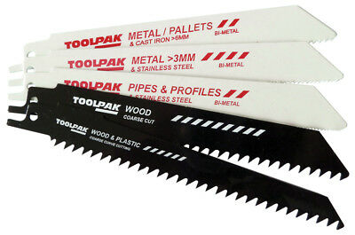 Reciprocating Saw Blade Mixed for wood and metal cuts by Toolpak Set of 5