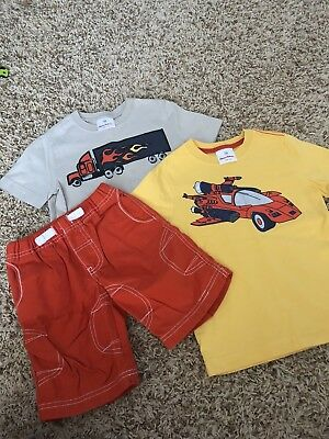 Hanna Andersson Boys Truck Hot Rod Shirt Shorts Outfit 100 / 90 EUC
