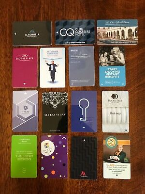 Set of 15 ALL DIFFERENT Hotel key cards inc.  SLS VEGAS  CLUB QUARTERS SONESTA