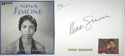 Nina Simone - Vintage In Person 1958...genuine Hand Signed Album Page/picture.