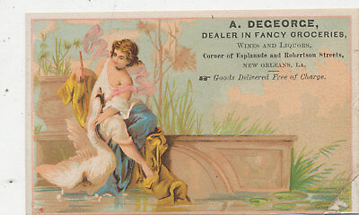 C8126   Victorian Trade Card A Degeorge Fancy Groceries New Orleans