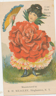 C8133    Victorian Trade Card Fantasy Flower Girl Broom Soap R.h Meagley