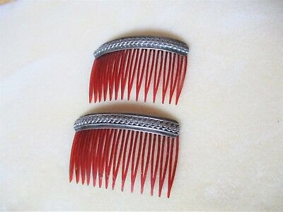 Two Vintage STERLING HAIR COMBS Weave Design Made U.S.A.