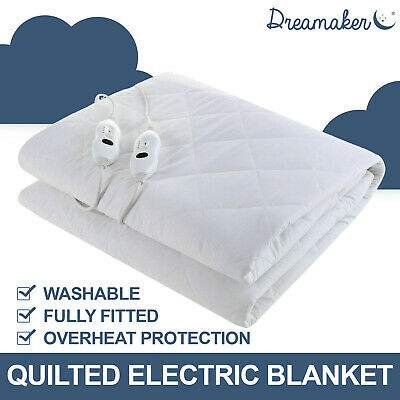QUEEN 120GSM QUILTED ELECTRIC BLANKET Heating Bed Fitted MATTRESS TOPPER 2018