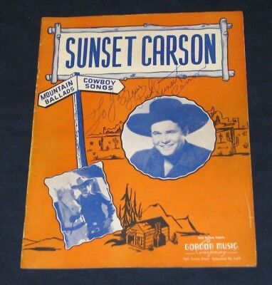Vintage 1946 Singing Cowboy Music Folio Autographed by Sunset Carson