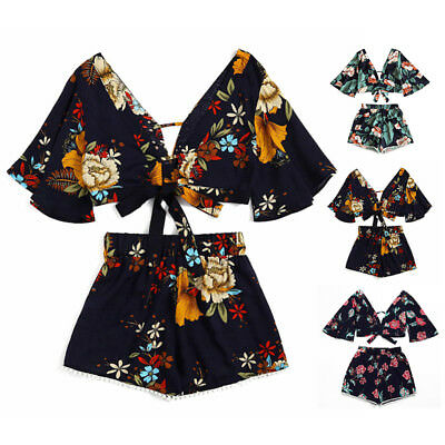 2pcs Beach Casual Women Outfits Floral Cropped Top High Waisted Lace Trim Shorts