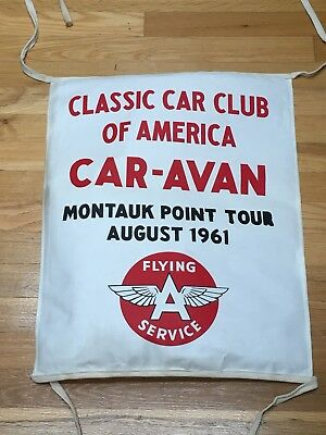 Flying A Canvas Gasoline Oil Banner Car Cub Cruise Montauk Porcelain Sign Gas